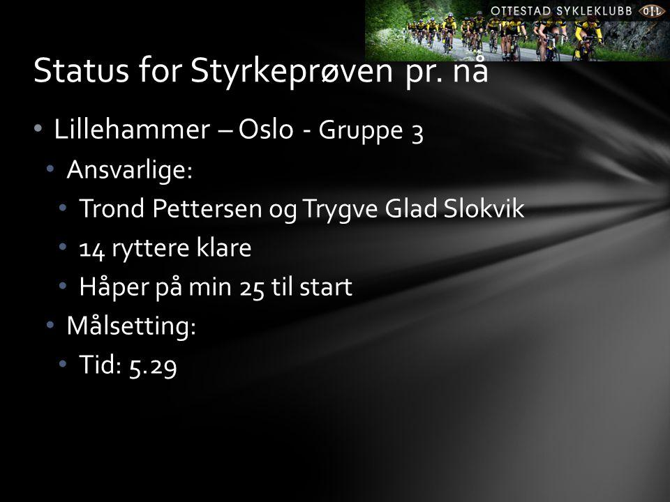 • Lillehammer – Oslo - Gruppe 3 • Ansvarlige: • Trond Pettersen og Trygve Glad Slokvik • 14 ryttere klare • Håper på min 25 til start • Målsetting: • Tid: 5.29 Status for Styrkeprøven pr.
