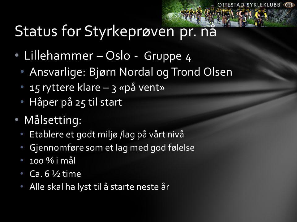 • Lillehammer – Oslo - Gruppe 4 • Ansvarlige: Bjørn Nordal og Trond Olsen • 15 ryttere klare – 3 «på vent» • Håper på 25 til start • Målsetting: • Etablere et godt miljø /lag på vårt nivå • Gjennomføre som et lag med god følelse • 100 % i mål • Ca.