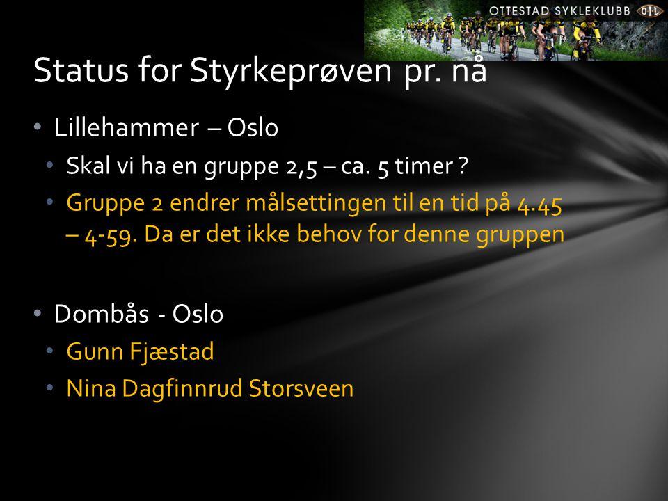 • Lillehammer – Oslo • Skal vi ha en gruppe 2,5 – ca. 5 timer ? • Gruppe 2 endrer målsettingen til en tid på 4.45 – 4-59. Da er det ikke behov for den