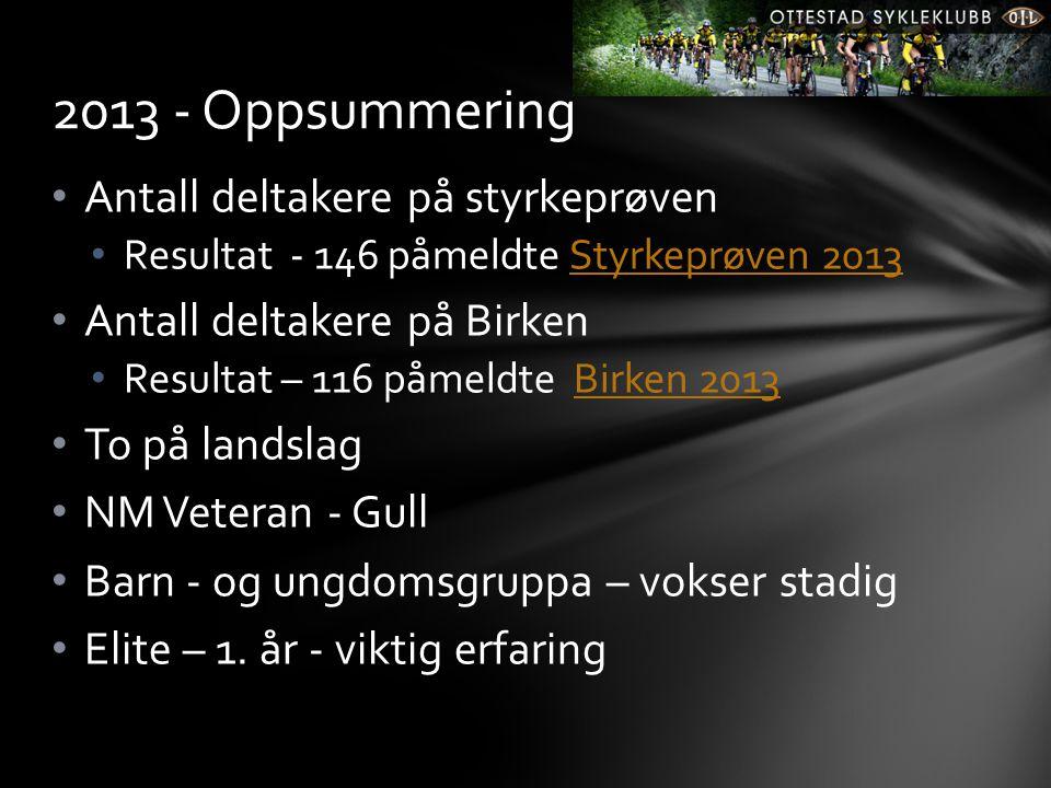 • Antall deltakere på styrkeprøven • Resultat - 146 påmeldte Styrkeprøven 2013Styrkeprøven 2013 • Antall deltakere på Birken • Resultat – 116 påmeldte
