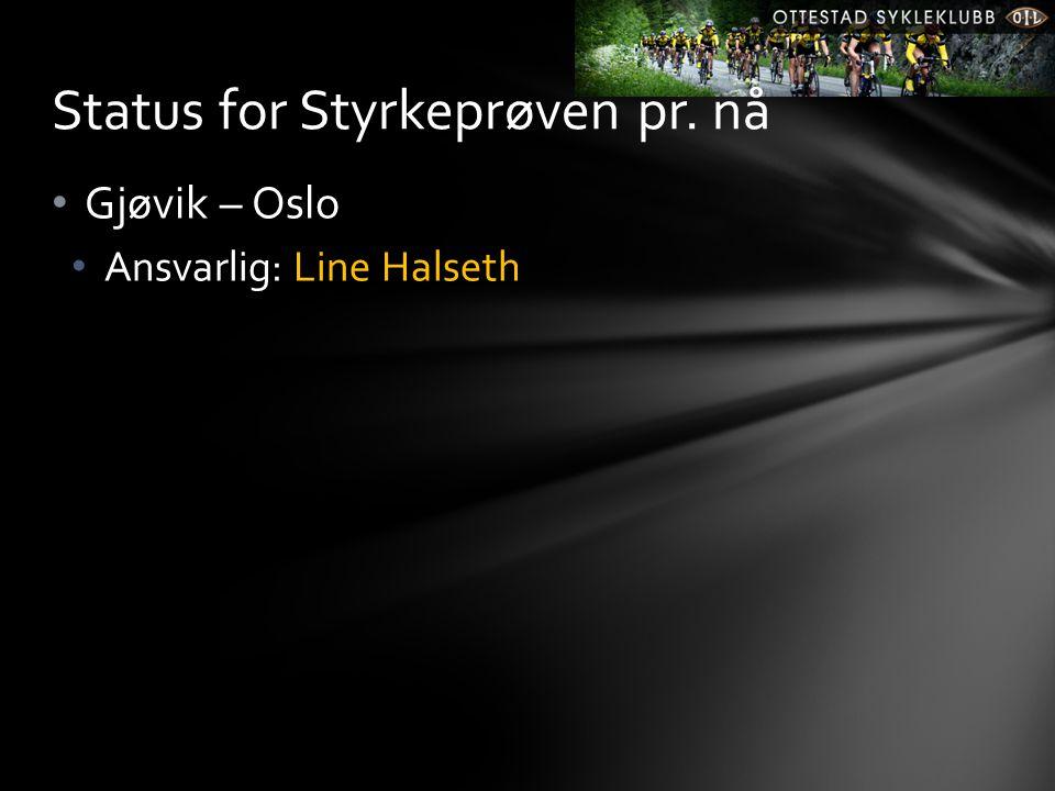 • Gjøvik – Oslo • Ansvarlig: Line Halseth Status for Styrkeprøven pr. nå