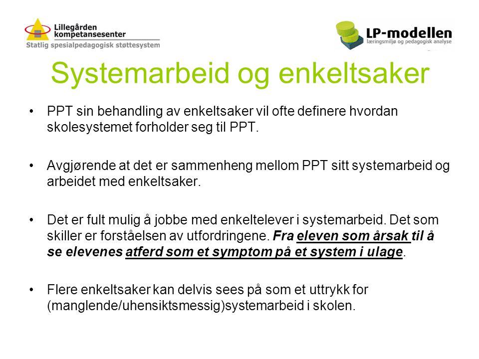 Systemarbeid og enkeltsaker •PPT sin behandling av enkeltsaker vil ofte definere hvordan skolesystemet forholder seg til PPT. •Avgjørende at det er sa