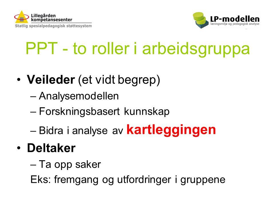 PPT - to roller i arbeidsgruppa •Veileder (et vidt begrep) –Analysemodellen –Forskningsbasert kunnskap –Bidra i analyse av kartleggingen •Deltaker –Ta