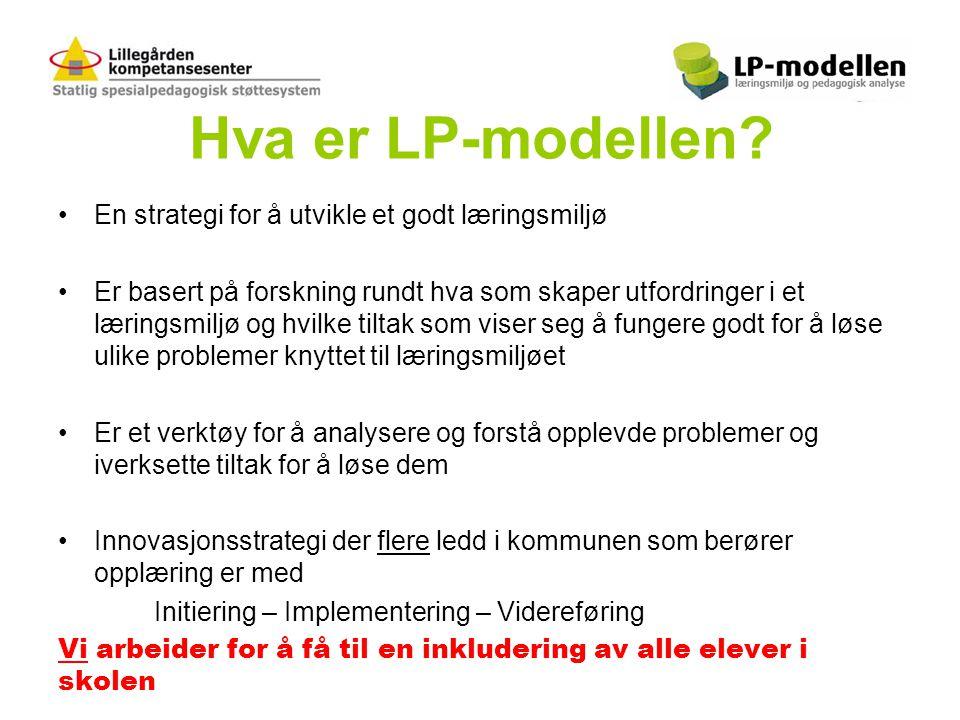 Hva er LP-modellen? •En strategi for å utvikle et godt læringsmiljø •Er basert på forskning rundt hva som skaper utfordringer i et læringsmiljø og hvi