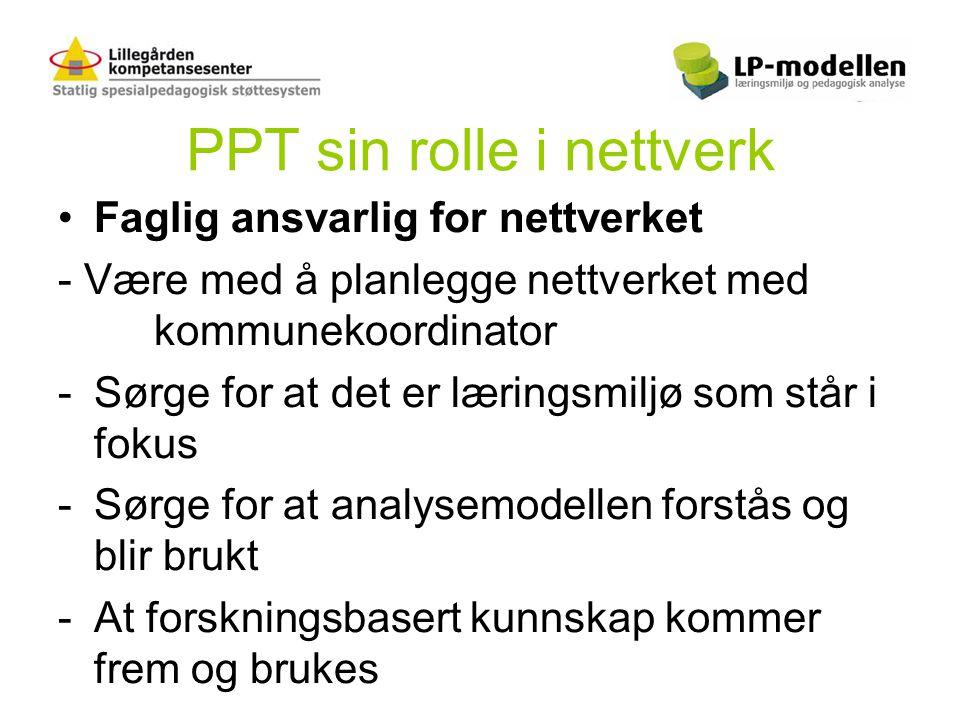 PPT sin rolle i nettverk •Faglig ansvarlig for nettverket - Være med å planlegge nettverket med kommunekoordinator -Sørge for at det er læringsmiljø s