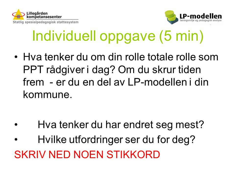 Individuell oppgave (5 min) •Hva tenker du om din rolle totale rolle som PPT rådgiver i dag? Om du skrur tiden frem - er du en del av LP-modellen i di
