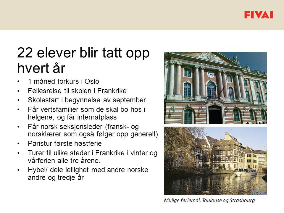 22 elever blir tatt opp hvert år •1 måned forkurs i Oslo •Fellesreise til skolen i Frankrike •Skolestart i begynnelse av september •Får vertsfamilier