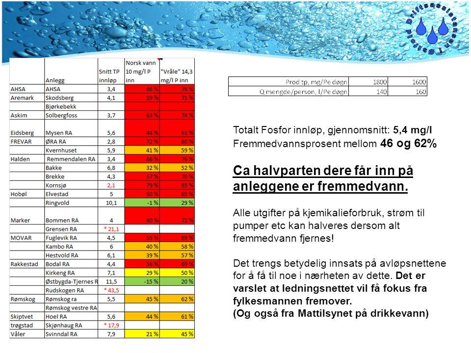 Totalt Fosfor innløp, gjennomsnitt: 5,4 mg/l Fremmedvannsprosent mellom 46 og 62% Ca halvparten dere får inn på anleggene er fremmedvann.