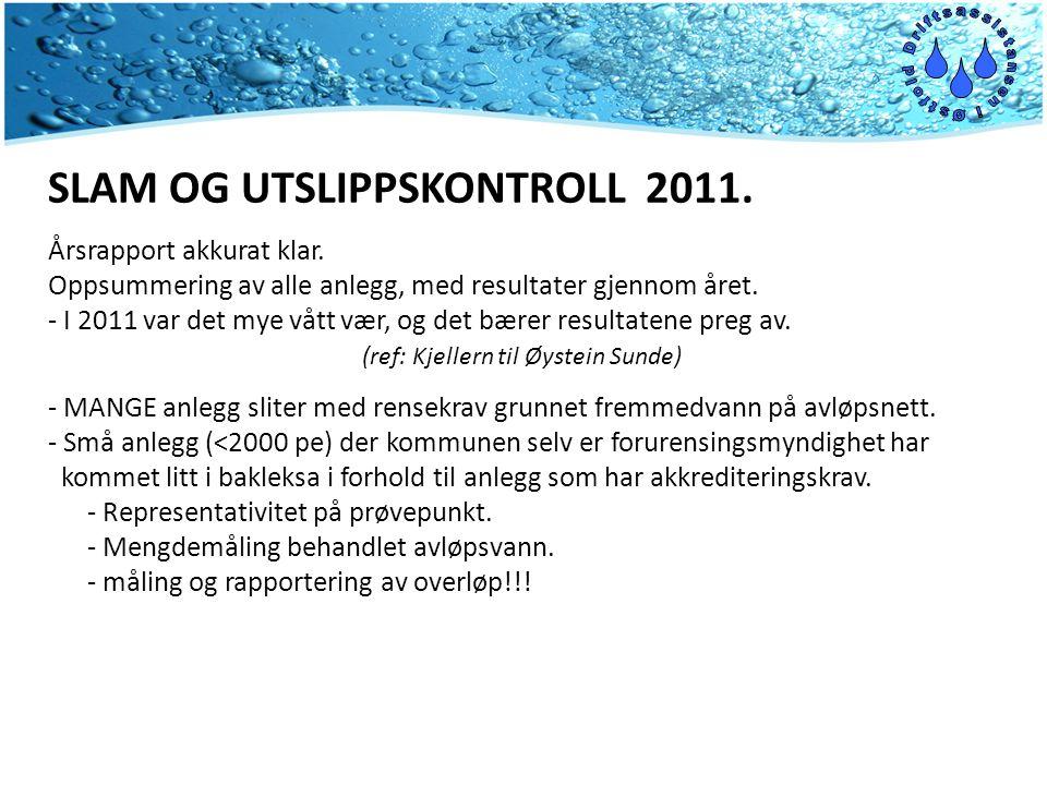 SLAM OG UTSLIPPSKONTROLL 2011. Årsrapport akkurat klar.