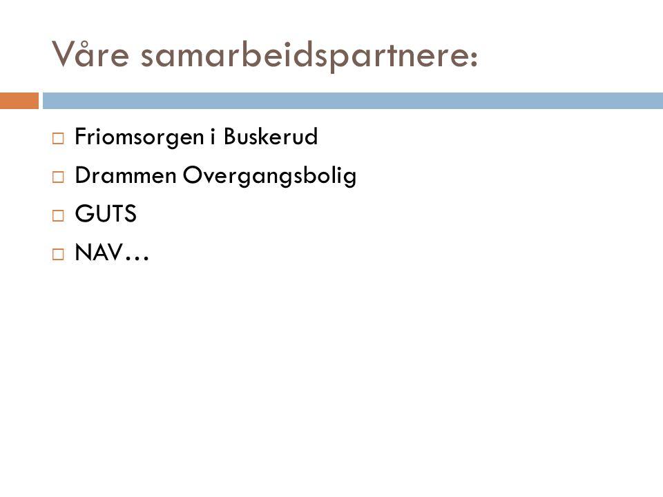 Våre samarbeidspartnere:  Friomsorgen i Buskerud  Drammen Overgangsbolig  GUTS  NAV…