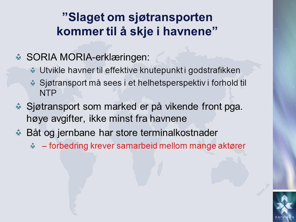 """""""Slaget om sjøtransporten kommer til å skje i havnene"""" SORIA MORIA-erklæringen: Utvikle havner til effektive knutepunkt i godstrafikken Sjøtransport m"""