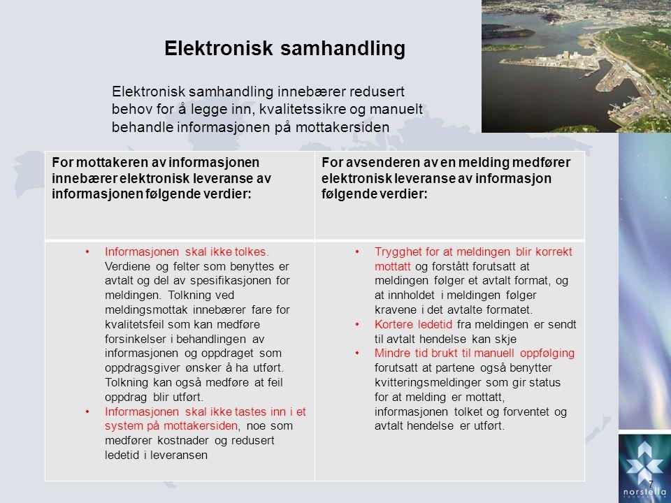 7 Elektronisk samhandling Elektronisk samhandling innebærer redusert behov for å legge inn, kvalitetssikre og manuelt behandle informasjonen på mottak