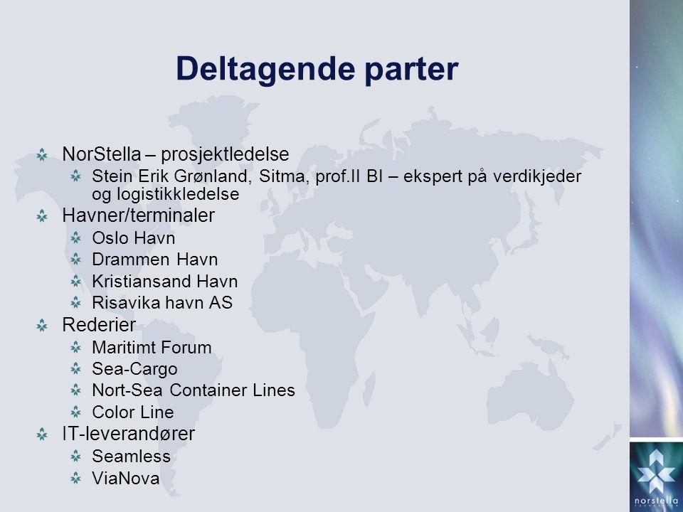 Deltagende parter NorStella – prosjektledelse Stein Erik Grønland, Sitma, prof.II BI – ekspert på verdikjeder og logistikkledelse Havner/terminaler Os