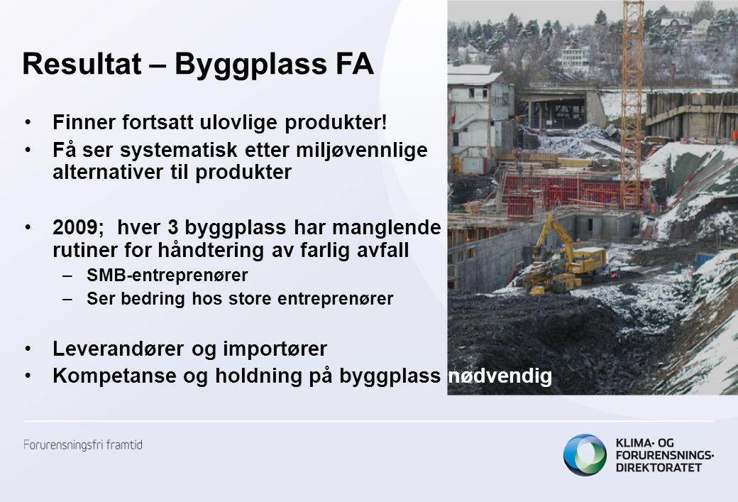 Resultat – Byggplass FA •Finner fortsatt ulovlige produkter! •Få ser systematisk etter miljøvennlige alternativer til produkter •2009; hver 3 byggplas