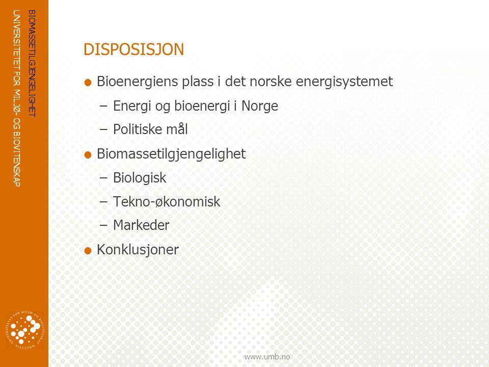 UNIVERSITETET FOR MILJØ- OG BIOVITENSKAP www.umb.no DISPOSISJON  Bioenergiens plass i det norske energisystemet –Energi og bioenergi i Norge –Politis