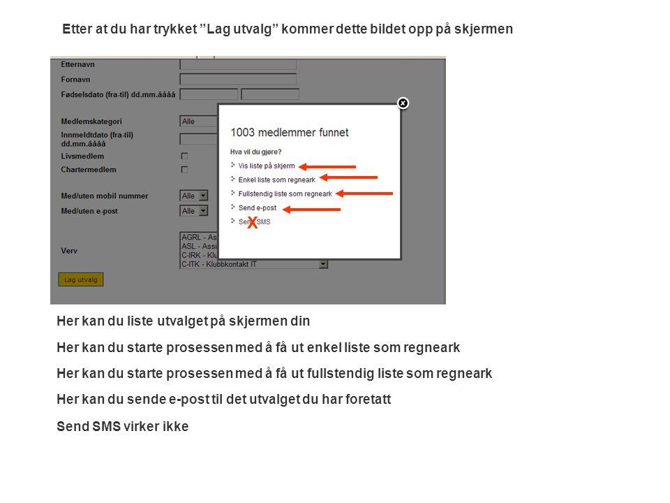 Her kan du liste utvalget på skjermen din Her kan du starte prosessen med å få ut fullstendig liste som regneark Her kan du sende e-post til det utvalget du har foretatt Send SMS virker ikke Her kan du starte prosessen med å få ut enkel liste som regneark Etter at du har trykket Lag utvalg kommer dette bildet opp på skjermen X