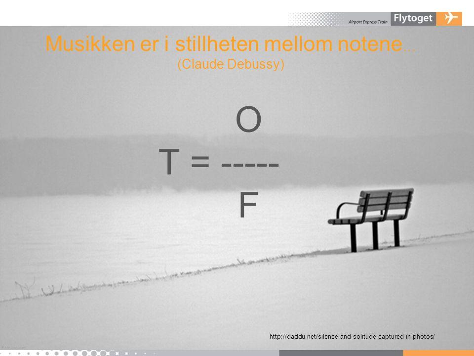 Musikken er i stillheten mellom notene … (Claude Debussy) O T = ----- F http://daddu.net/silence-and-solitude-captured-in-photos/