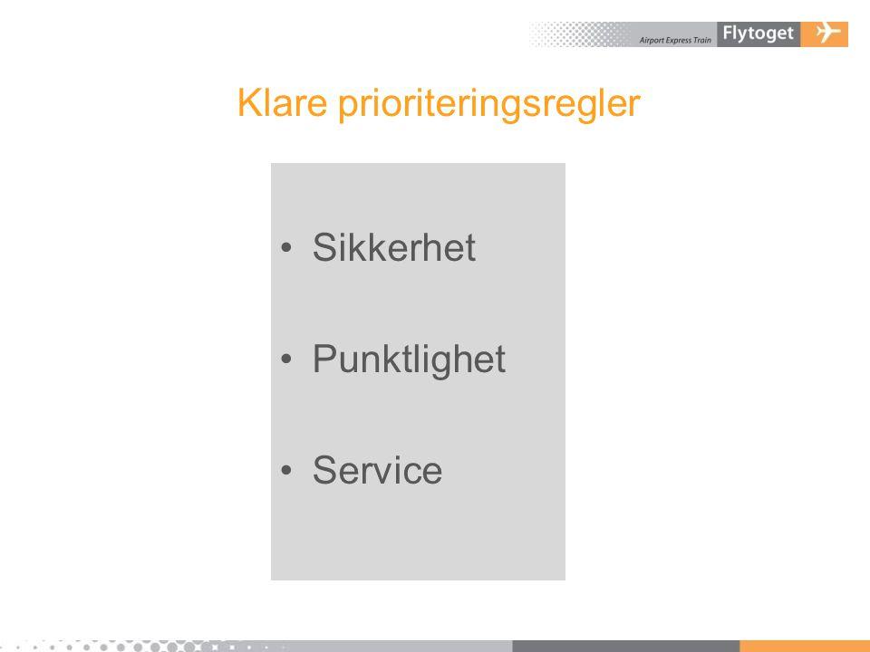 Klare prioriteringsregler •Sikkerhet •Punktlighet •Service