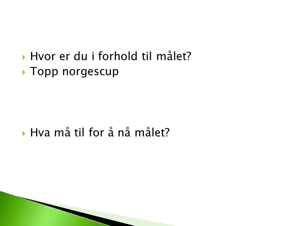  Hvor er du i forhold til målet?  Topp norgescup  Hva må til for å nå målet?