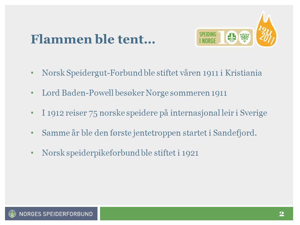 2 Flammen ble tent… • Norsk Speidergut-Forbund ble stiftet våren 1911 i Kristiania • Lord Baden-Powell besøker Norge sommeren 1911 • I 1912 reiser 75