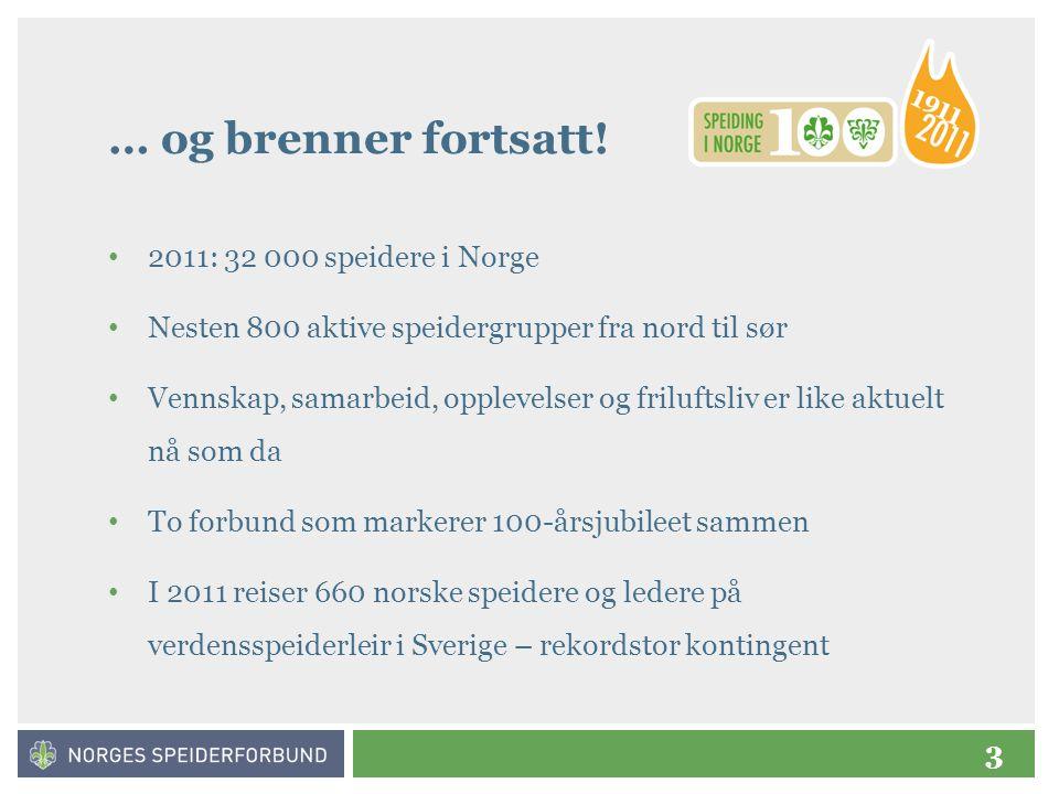 3 … og brenner fortsatt! • 2011: 32 000 speidere i Norge • Nesten 800 aktive speidergrupper fra nord til sør • Vennskap, samarbeid, opplevelser og fri