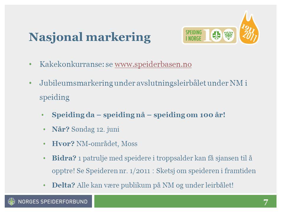 7 Nasjonal markering • Kakekonkurranse: se www.speiderbasen.nowww.speiderbasen.no • Jubileumsmarkering under avslutningsleirbålet under NM i speiding