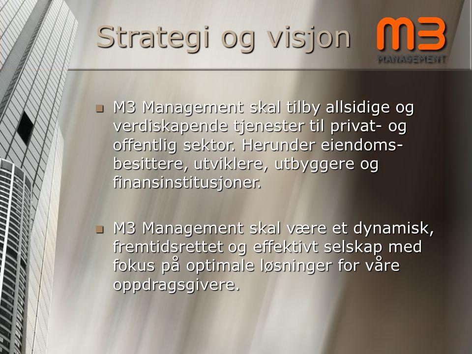 Strategi og visjon MMMM3 Management skal tilby allsidige og verdiskapende tjenester til privat- og offentlig sektor. Herunder eiendoms- besittere,