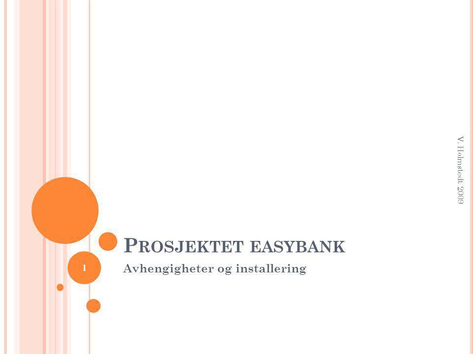 P ROSJEKTET EASYBANK Avhengigheter og installering 1 V. Holmstedt 2009