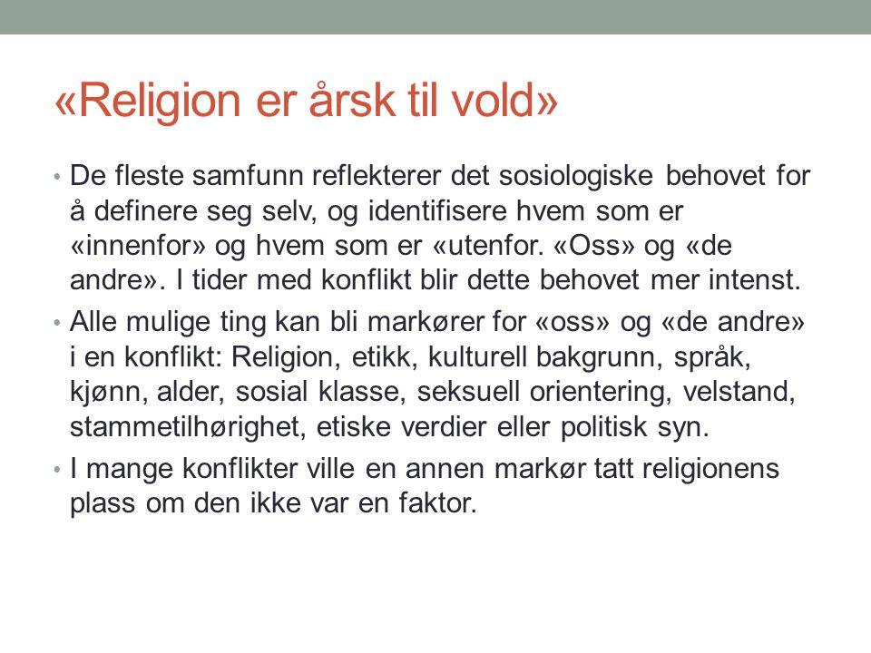 «Religion er årsk til vold» • De fleste samfunn reflekterer det sosiologiske behovet for å definere seg selv, og identifisere hvem som er «innenfor» o