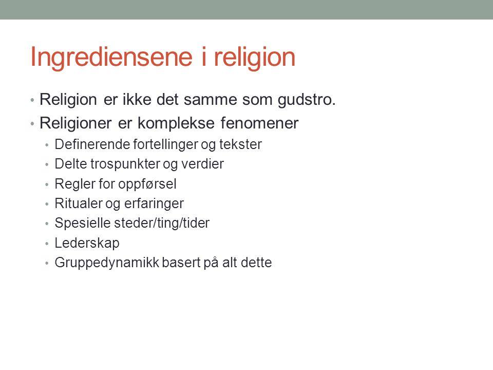 Ingrediensene i religion • Religion er ikke det samme som gudstro. • Religioner er komplekse fenomener • Definerende fortellinger og tekster • Delte t