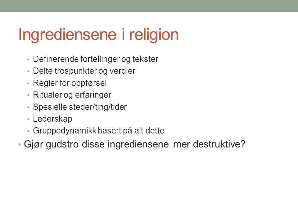 Ingrediensene i religion • Definerende fortellinger og tekster • Delte trospunkter og verdier • Regler for oppførsel • Ritualer og erfaringer • Spesie