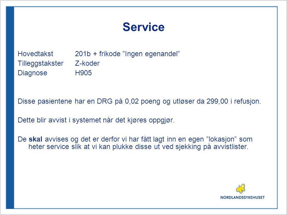 """Service Hovedtakst 201b + frikode """"Ingen egenandel"""" TilleggstaksterZ-koder DiagnoseH905 Disse pasientene har en DRG på 0,02 poeng og utløser da 299,00"""