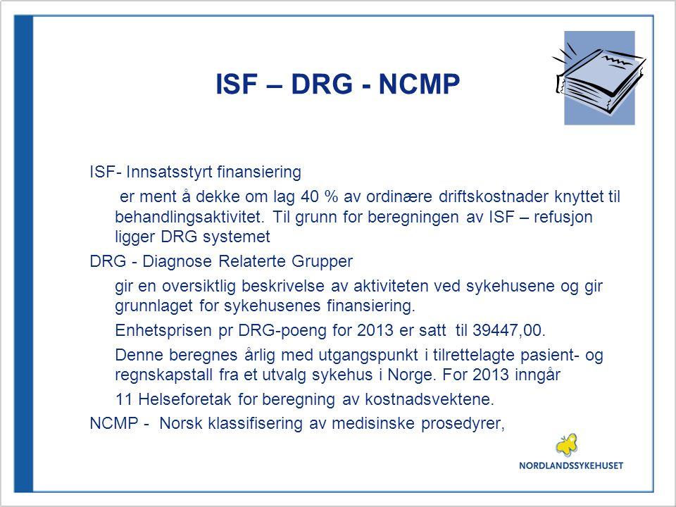 ISF – DRG - NCMP ISF- Innsatsstyrt finansiering er ment å dekke om lag 40 % av ordinære driftskostnader knyttet til behandlingsaktivitet. Til grunn fo