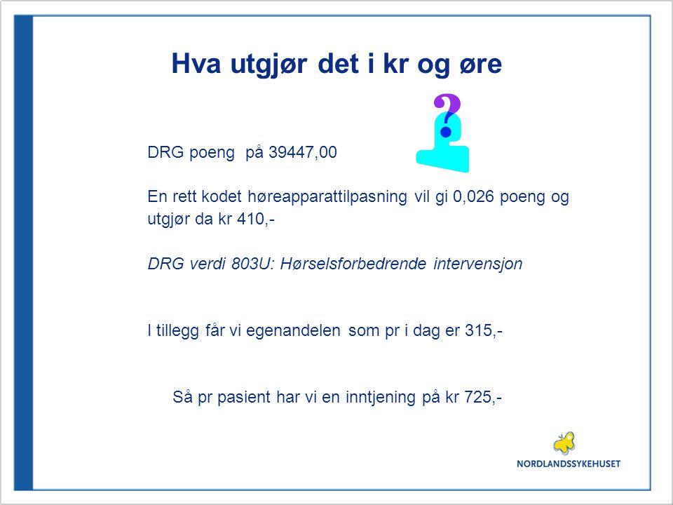 Takster og NCMP koder: Hørselstester For en hørselstest får vi mer: 201b Hovedtakst DXFX10Toneaudiogram med luft- og benledning DXFX15Taleaudiogram DXFX25Tympanogram Dette gir vekt 0,031 i poeng og gir kr 489,- Tillegg for egenandel på 315,-, Totalt 804,- DRG verdi 803W : Sammensatte diagnostiske intervensjoner for ØNH problemer
