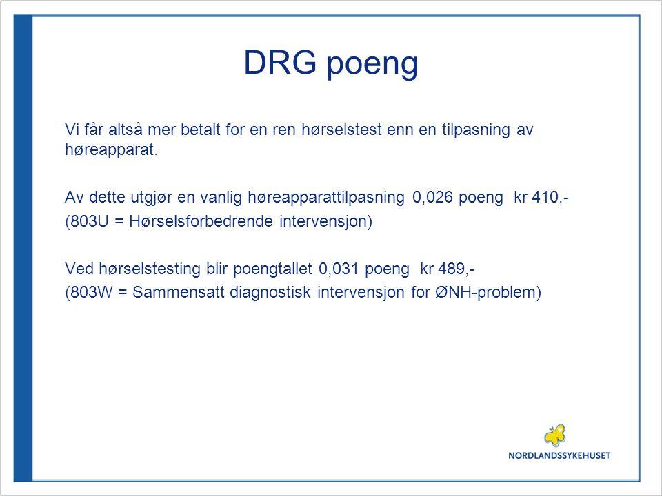 DRG poeng Vi får altså mer betalt for en ren hørselstest enn en tilpasning av høreapparat. Av dette utgjør en vanlig høreapparattilpasning 0,026 poeng