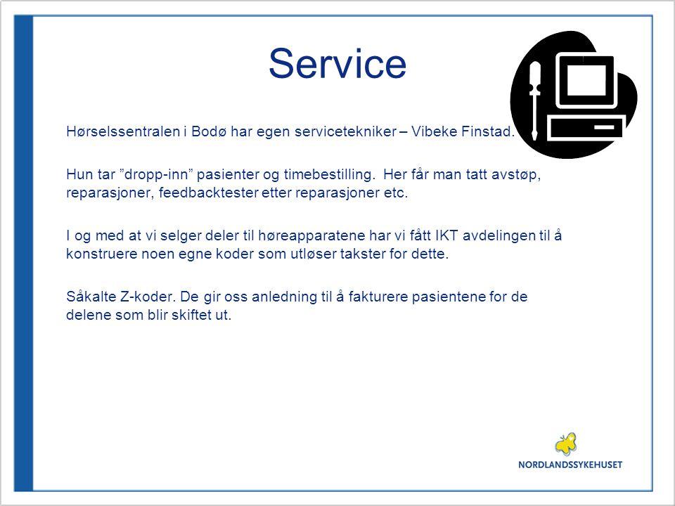 """Service Hørselssentralen i Bodø har egen servicetekniker – Vibeke Finstad. Hun tar """"dropp-inn"""" pasienter og timebestilling. Her får man tatt avstøp, r"""