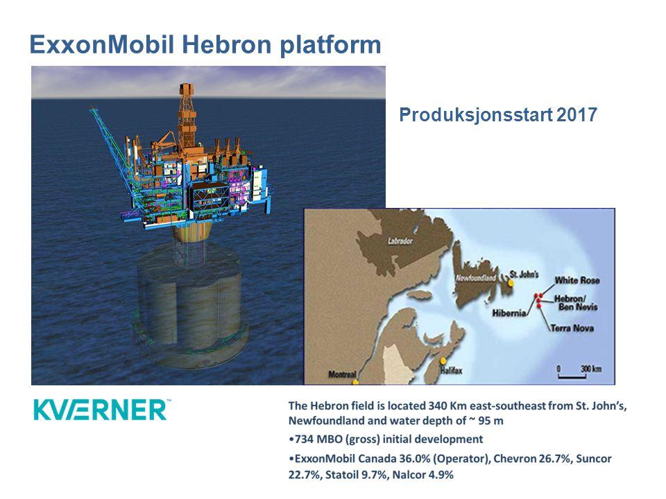 ExxonMobil Hebron platform Produksjonsstart 2017