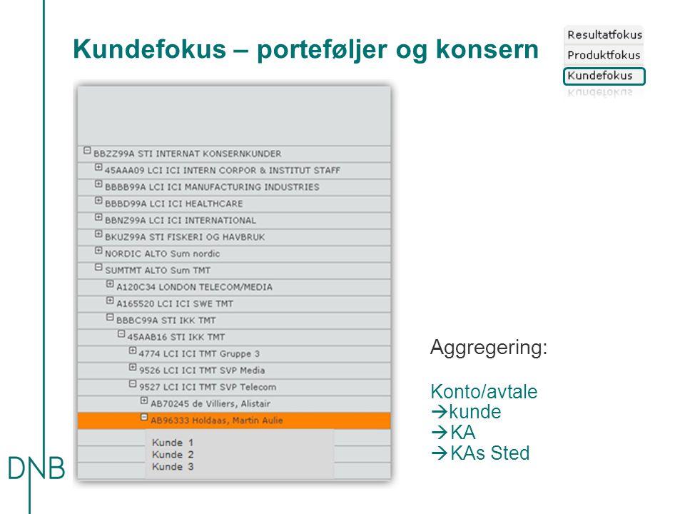 Kundefokus – porteføljer og konsern Aggregering: Konto/avtale  kunde  KA  KAs Sted