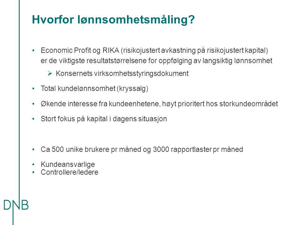Hvorfor lønnsomhetsmåling? •Economic Profit og RIKA (risikojustert avkastning på risikojustert kapital) er de viktigste resultatstørrelsene for oppføl