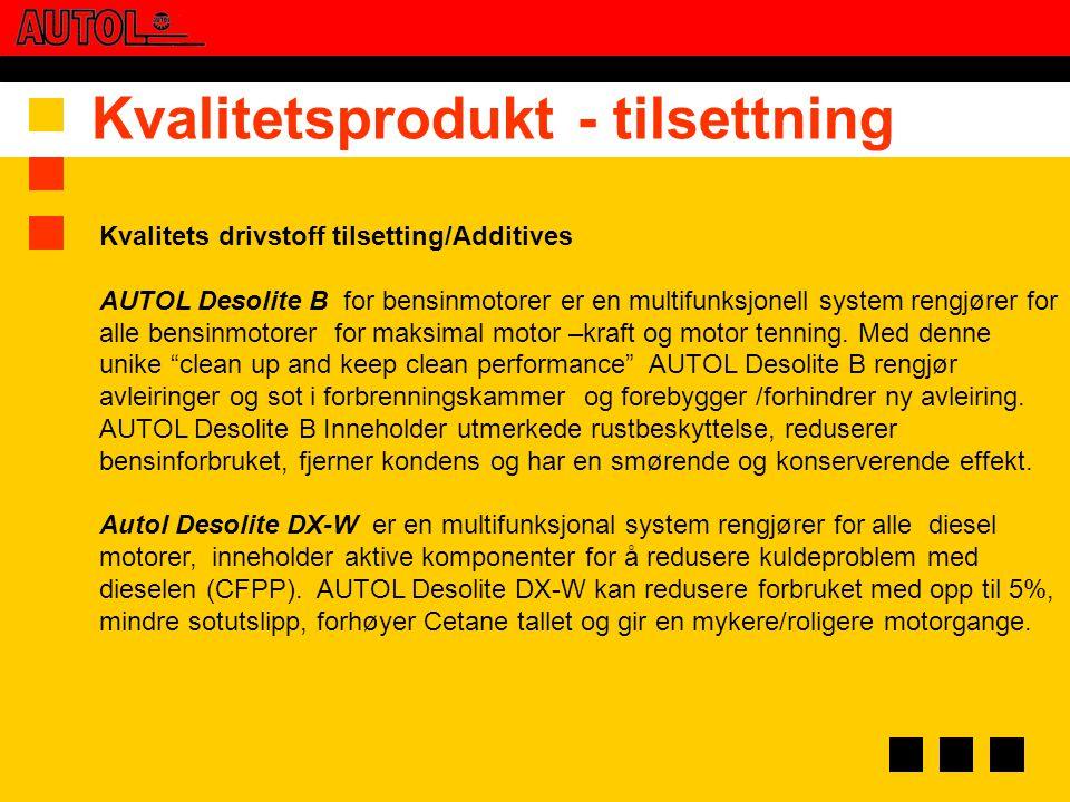Kvalitets drivstoff tilsetting/Additives AUTOL Desolite B for bensinmotorer er en multifunksjonell system rengjører for alle bensinmotorer for maksima