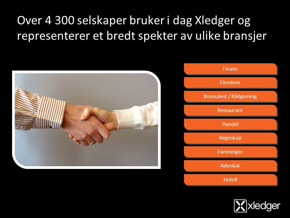 Over 4 300 selskaper bruker i dag Xledger og representerer et bredt spekter av ulike bransjer Finans Eiendom Konsulent / Rådgivning Restaurant Handel
