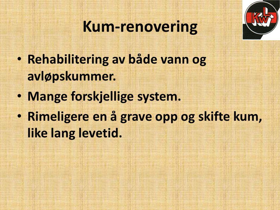 Kum-renovering • Rehabilitering av både vann og avløpskummer. • Mange forskjellige system. • Rimeligere en å grave opp og skifte kum, like lang leveti