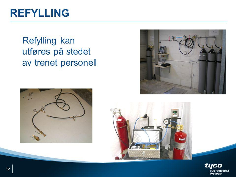 REFYLLING Refylling kan utføres på stedet av trenet personell 22