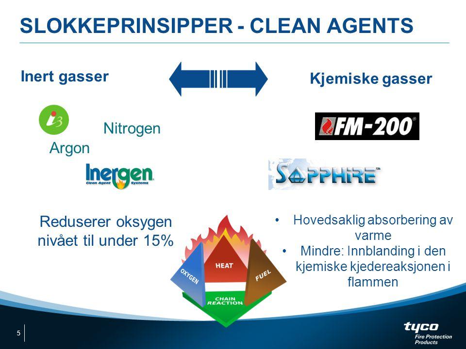SLOKKEPRINSIPPER - CLEAN AGENTS Inert gasser Kjemiske gasser Reduserer oksygen nivået til under 15% •Hovedsaklig absorbering av varme •Mindre: Innblan