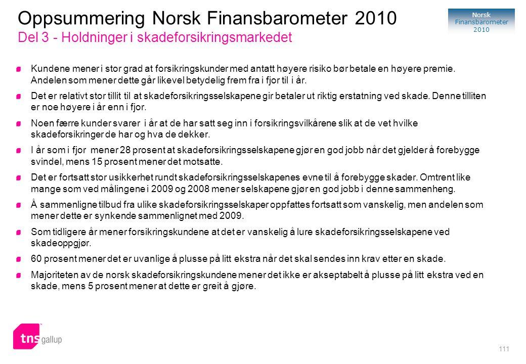 111 Norsk Finansbarometer 2010 Kundene mener i stor grad at forsikringskunder med antatt høyere risiko bør betale en høyere premie. Andelen som mener