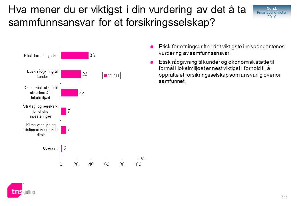 141 Norsk Finansbarometer 2010 Hva mener du er viktigst i din vurdering av det å ta sammfunnsansvar for et forsikringsselskap? Etisk forretningsdrift