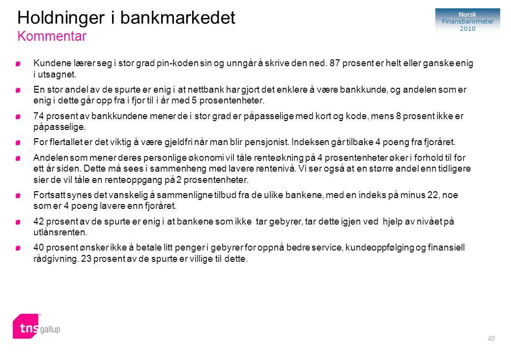 49 Norsk Finansbarometer 2010 Holdninger i bankmarkedet Kommentar Kundene lærer seg i stor grad pin-koden sin og unngår å skrive den ned. 87 prosent e