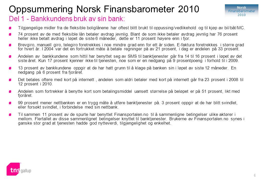 107 Norsk Finansbarometer 2010 Om Norsk Finansbarometer 2010 Norsk Finansbarometer er en syndikert undersøkelse gjennomført av TNS Gallup i samarbeid med FNO(Finansnæringens Fellesorganisasjon) innenfor markedene bank, skadeforsikring og livsforsikring.