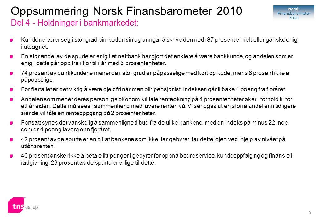 70 Norsk Finansbarometer 2010 Om Norsk Finansbarometer 2010 Norsk Finansbarometer er en syndikert undersøkelse gjennomført av TNS Gallup i samarbeid med FNO (Finansnæringens Fellesorganisasjon) innenfor markedene bank, skadeforsikring og livsforsikring.
