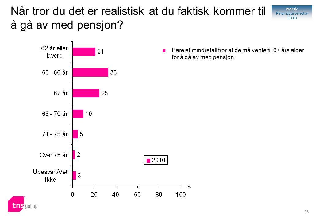 98 Norsk Finansbarometer 2010 Når tror du det er realistisk at du faktisk kommer til å gå av med pensjon? Bare et mindretall tror at de må vente til 6
